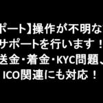 【サポート】操作が不明な方のサポートを行います!送金・着金・KYC問題、ICO関連にも対応!